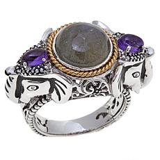 "Traveler's Journey Amethyst-Labradorite ""Elephant"" Ring"