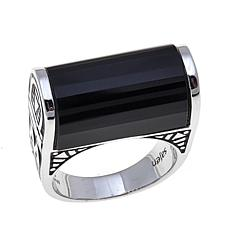Traveler's Journey Black Onyx Bar Sterling Silver Ring