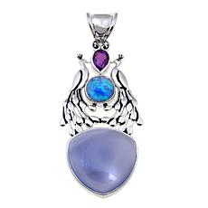 Traveler's Journey Blue Gemstone Peacock Pendant