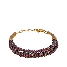 Traveler's Journey Garnet Bead Gold-Plated Bracelet