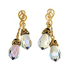 Traveler's Journey  Gold-Plated Sterling Silver Crystal Drop Earrings