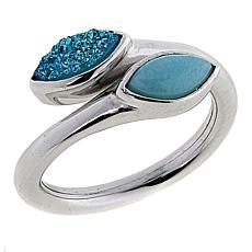 Traveler's Journey Sky Blue Agate and Larimar Bypass Ring