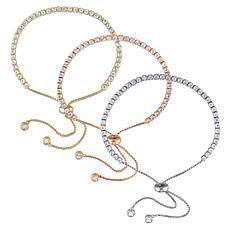 Tri-Color Sterling Silver White Topaz 3-Piece Set Bolo Bracelet Set