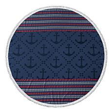 Turkish Cotton Round Beach Towel - Anchor