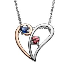 Two-Tone Sterling Silver Gemstone Birthstone Heart Pendant Necklace