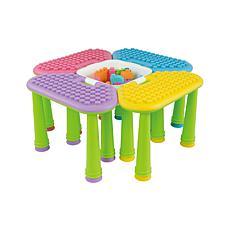UNiPLAY Soft Building Table 4-Set w/ 42-Piece Building Blocks