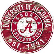 University of Alabama Distressed Round Sign