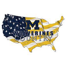 University of Michigan USA Shape Flag Cutout
