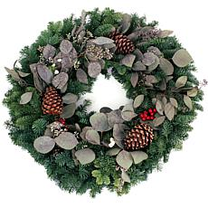 "Van Zyverden Fresh Cut 24"" Pacific Northwest Eucalyptus & Berry Wreath"
