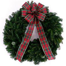 """Van Zyverden Fresh Cut Blue Ridge Mountain 24"""" Fraser Fir Wreath w/Bow"""