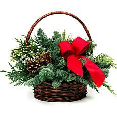 Van Zyverden Fresh Cut Pacific Northwest Holiday Basket Centerpiece