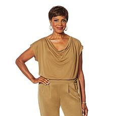 Vanessa Williams Comfort Zone Knit Front Drape Top
