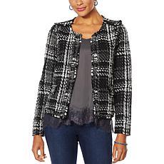 Vanessa Williams Open-Front Tweed Jacket with Pockets