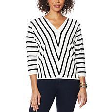 Vanessa Williams V-Neck Stripe Sweater