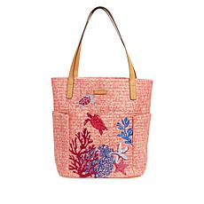Vera Bradley Straw-Design Open Tote Bag
