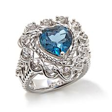 "Victoria Wieck 4.08ctw London Blue Topaz ""Heart"" Ring"