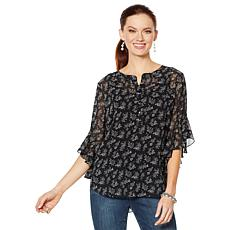Vince Camuto Calico-Print Flutter-Sleeve Chiffon Blouse