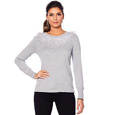 Vince Camuto Feather Collar Sweater
