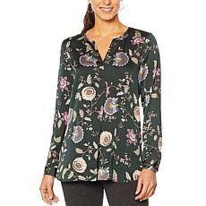 Vince Camuto Floral Hammered Satin Split-Neck Tunic