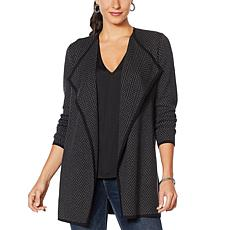 Vince Camuto Herringbone Combed Cotton Open Cardigan