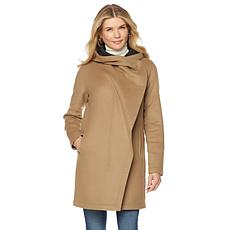 Vince Camuto Hooded Wool-Blend Throwover Coat