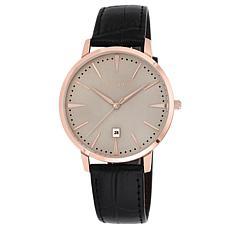 Vince Camuto Men's Rosetone Black Croco-Grain Leather Strap Watch