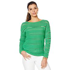 Vince Camuto Open-Stitch Cotton Sweater