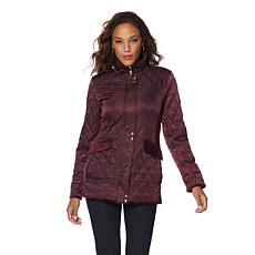 Vince Camuto Quilted Satin Jacket with Velvet Trim