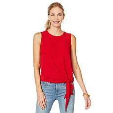 Vince Camuto Sleeveless Tie-Front Crepe Blouse