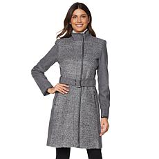 Vince Camuto Wool-Blend Belted Boucle Coat