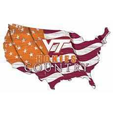 Virginia Tech University USA Shape Flag Cutout