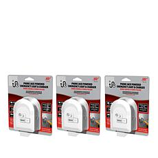VR3 3-pack Emergency Phone Jack-Powered Lights w/Built-in Chargers