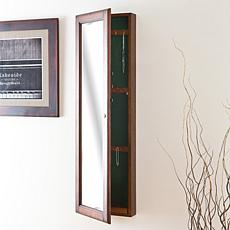 Wall-Mount Jewelry Mirror - Warm Brown Walnut