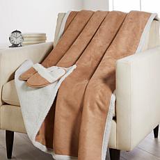 Warm & Cozy Faux Suede Throw & Slipper Gift Set