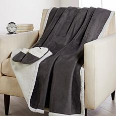 Warm & Cozy Faux Suede Throw & Slipper Gift Set