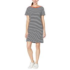 WE by Living in Yellow Striped Short Dress with Contrast Trim
