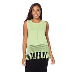 Wendy Williams Cotton Sweater Knit Tank with Fringe