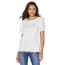 Wendy Williams Crinkle Knit Tee with Pom Poms