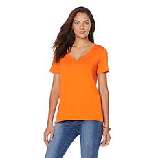 Wendy Williams Perfect V-Neck Hi-Low Hem Tee