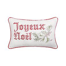 Wenham Holly Noel Embroidered Pillow