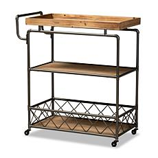 Wholesale Interiors Amado Wood and Metal 3-Tier Mobile Kitchen Cart