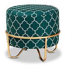 Wholesale Interiors Candice Quatrefoil Velvet Upholstered Ottoman