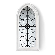 Wholesale Interiors Raum White Wood and Black Metal Arched Wall Mirror