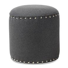 Wholesale Interiors Rosine Fabric Upholstered Nail Trim Ottoman