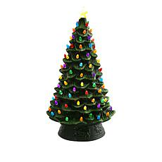 "Wind & Weather 20"" LED Lighted Ceramic Green Christmas Tree"