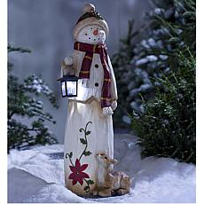 Wind and Weather Holiday Snowman with Solar LED Lantern