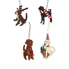 Wind and Weather Set of 4 Holiday Felt Dog Ornaments