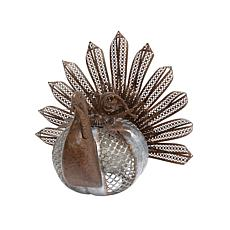 """Winter Lane 19-7/8"""" Galvanized Rusted Metal Turkey with Textured Body"""