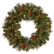 "Winter Lane 24""  Crestwood Spruce Wreath w/Lights"