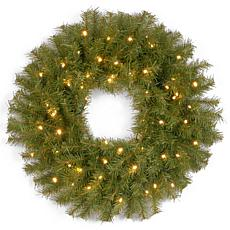"Winter Lane 24""Battery-Operated Norwood Wreath w/LEDs"